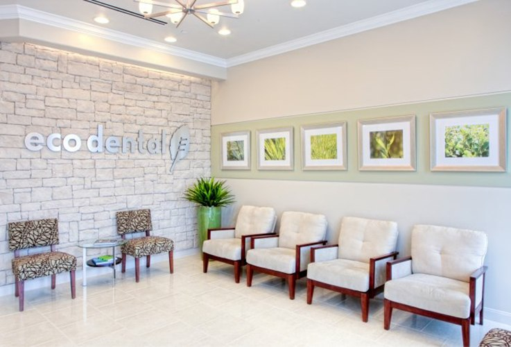 Welcoming Eco Dental waiting room Sugar Land