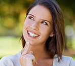 Woman with youthful attractive smile