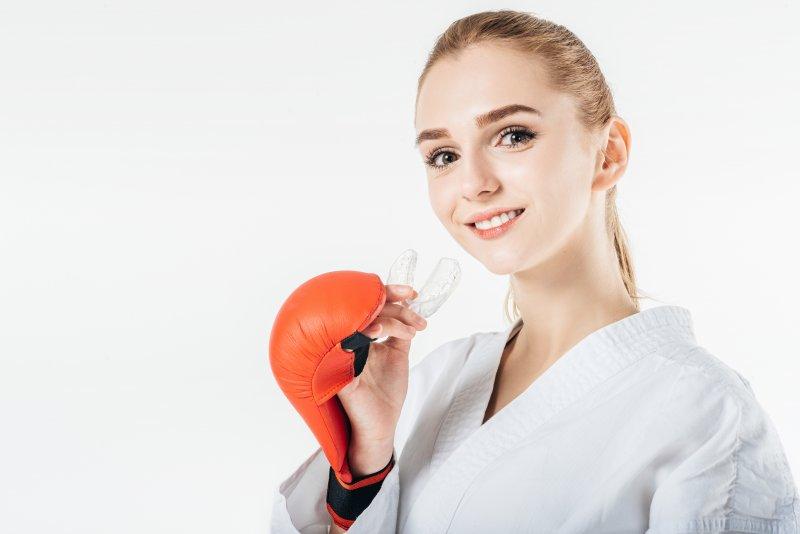Woman wearing mouthguard